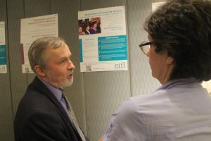 EIFL-OA Coordinator (left) Viatcheslav Britchkovski from Belarus speaks with EIFL Country Coordinator (left) Biljana Kosanovic from Serbia about his open access project.