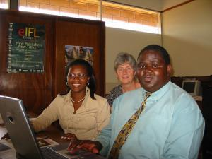 Ten years ago MALICO members examine electronic information resources at Bunda Library.