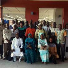 Participants in a series of workshops on open access policies and repositories hosted by EIFL and the Consortium des Bibliothèques de l'Enseignement Supérieur du Sénégal (COBESS) in Dakar October 2019.