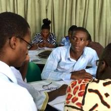 Public librarians in small group during Ghana training.