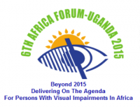 Logo of 6th Africa Forum, event title, image of an eye with a sun rising behind.