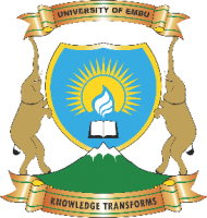 Emu University Logo which is two elephants holding a banner