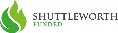 "Shuttleworth logo with a green flower, and the words ""Shuttleworth funded"""