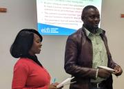Two Zambian public librarians giving a presentation during a training of trainers workshop organised by EIFL in May 2019.