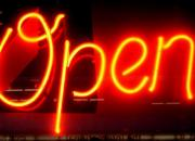 A banner saying OPEN