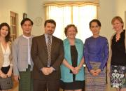 Beyond Access team members from the Asia Foundation, Myanmar Book Centre, IREX and EIFL visit with Nobel Peace Prize laureate and Myanmar MP Aung San Suu Kyi.