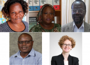 EIFL at the event: top from left, EIFL copyright librarians, Katherine Matsika, Awa Diouf Cisse, Japhet Otike; bottom, Dick Kawooya, Associate Professor, College of Information and Communications, Uni. of South Carolina, EIFL-IP Manager, Teresa Hackett.