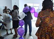 Kenya National Library Service trainers do an exercise with balloons during leadership training in May 2018.