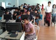 Image showing Myanmar students working at computers