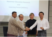 From left: Dr Nay Win Oo, Deputy Director General of Department of Higher Education, Dr Zaw Wai Soe, Chair of the Myanmar Rectors' Committee, Rima Kupryte, Director of EIFL, and Dr Kazutsuna Yamaji of the National Institute of Informatics at the MERAL signing ceremony in Yangon.