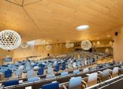 The WIPO Conference Hall, empty of people.