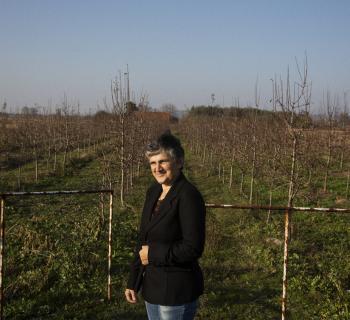 Photo of Milja Jevtic, a fruit farmer in Milosevo village, who is a user of Public Library 'Radislav Nikčević's' AgroLib-Ja service for farmers.
