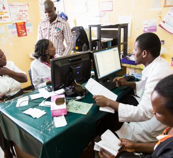 Health workers and researchers at Embu General Provincial Hospital in eastern Kenya  working on open access research online.