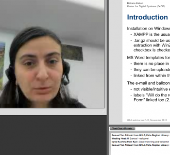 Bozana Bokan (Center for Digital Systems (CeDiS): Open Access/e-Publishing, Freie Universität Berlin) provides an overview of Open Journal Systems (OJS) software functions for librarians and OA journal publishers during an EIFL webinar.