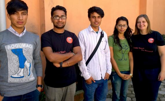 Students from Open Access Nepal and Open Knowledge Nepal with EIFL Open Access Programme Manager Iryna Kuchma pause for a break during Open Access Week 2014.