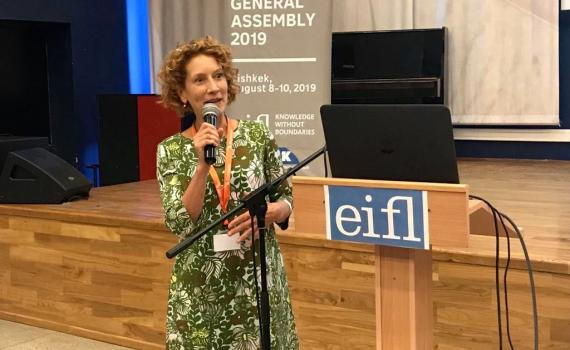 Colleen Campbell, of OA2020 presenting at the EIFL General Assembly.