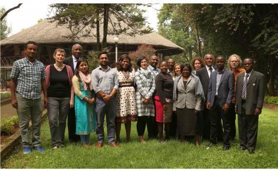 A group of trainees and trainers at the EIFL Open Science train the trainers course in Addis Ababa. They are standing outside the training venue.