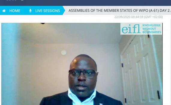 Dick Kawooya, School of Information Science, University of South Carolina, delivers the General Statement on behalf of EIFL at the 2020 WIPO Assemblies. The statement was pre-recorded due to COVID-19 travel restrictions.