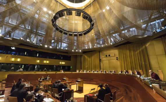 Inside the European Court of Justice - one of the courts where judgements are given.