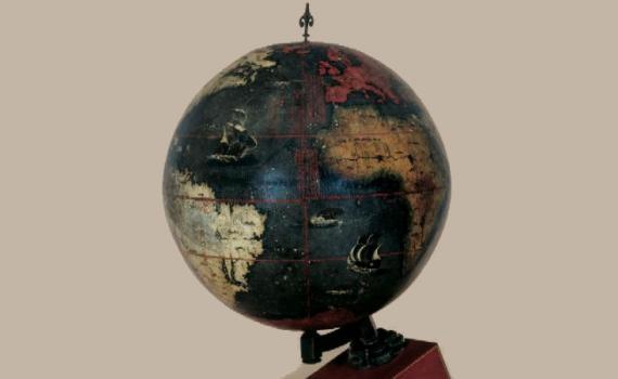 A dark globe of the world