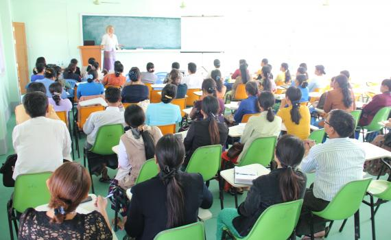 eLibrary Myanmar Project Manager Susanna Lob introduces first training workshop for faculty at Yadanabon University.