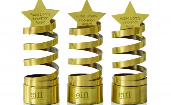 The Award trophy - a brass spiral with a star on top!