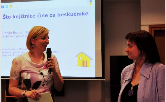 Ms Janja Maras, left, communication manager at Zagreb City Libraries, with Ms Sanja Bunic, who manages the library's service for the homeless, at the conference.