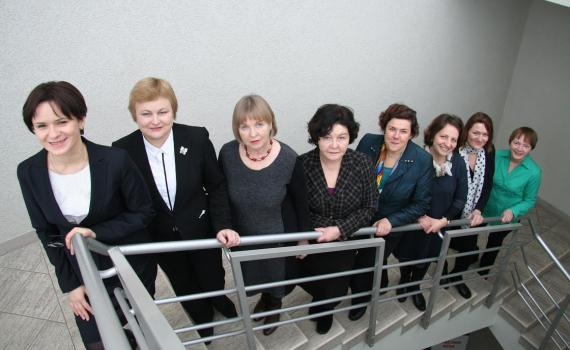 Emilija Banionyte, president of the Lithuanian Research Library Consortium (LMBA) and the LMBA EU project team. Photo by Sevile Charsika.