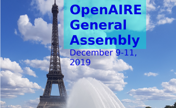 Logo of the OpenAIRE General Assembly showing a view of Paris and the Eiffel Tower.