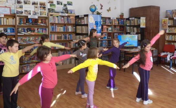 Children attend keep fit classes in the library, using the Wii Fit Plus console.