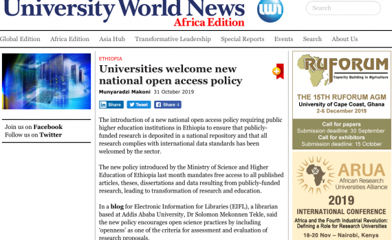 Screen shot of Universities World News featuring the article titled Universities welcome new national open access policy.