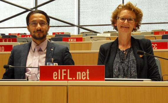 in photo Pratyush Nath Upreti from Nepal, left, with EIFL Copyright and Libraries Programme Manager, Teresa Hackett.