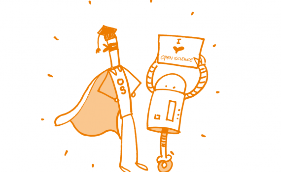 Logo  -  line-drawing of an academic with robot holding a banner saying 'I love Open Science'