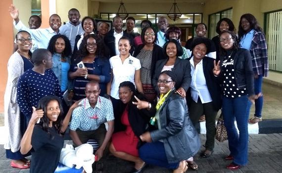 The Zambian trainees, from 12 public libraries, in a group outside the training venue.